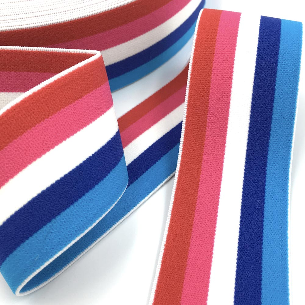 40mm Wide Stripe Waistband Elastic Red/Blue - Frumble Fabrics