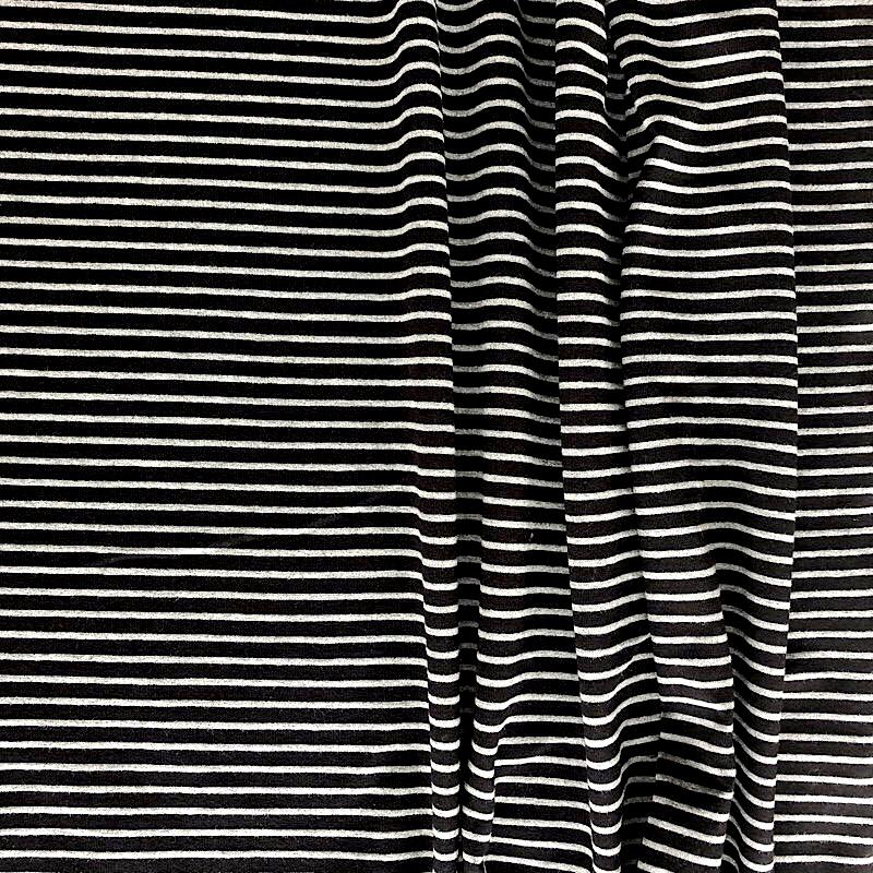 Grey on Black Premium Striped Jersey Fabric by Various