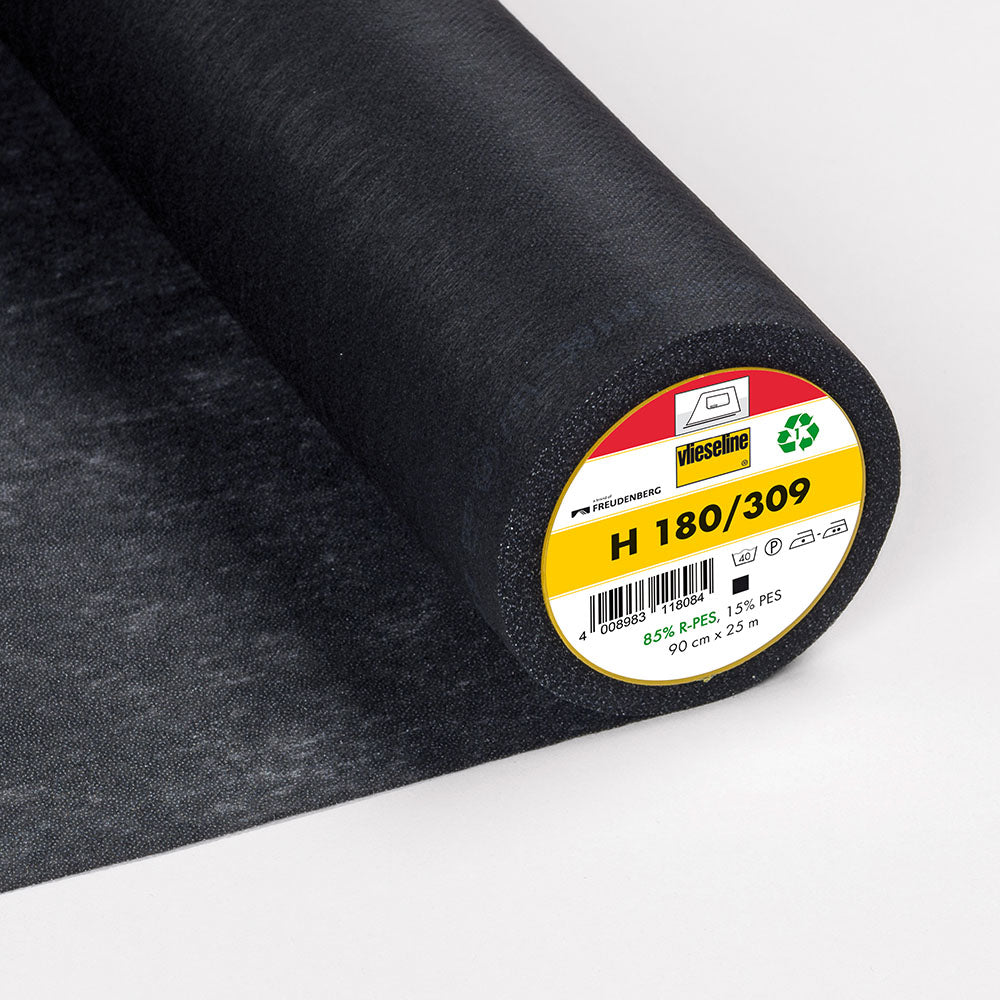 H180-309 Black Lightweight Fusible Interlining (Per Metre) - Frumble Fabrics