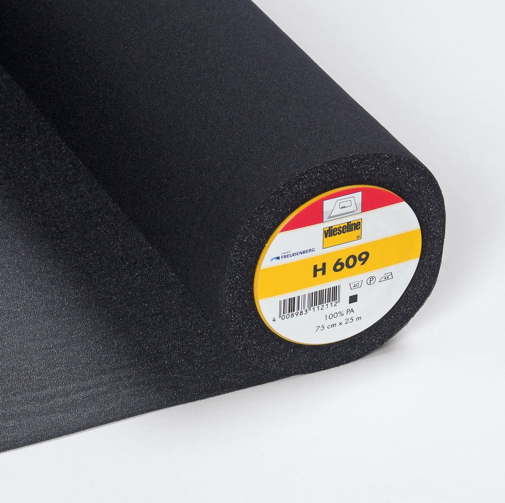 H609 Black Fusible Stretch Interlining (Per Metre)