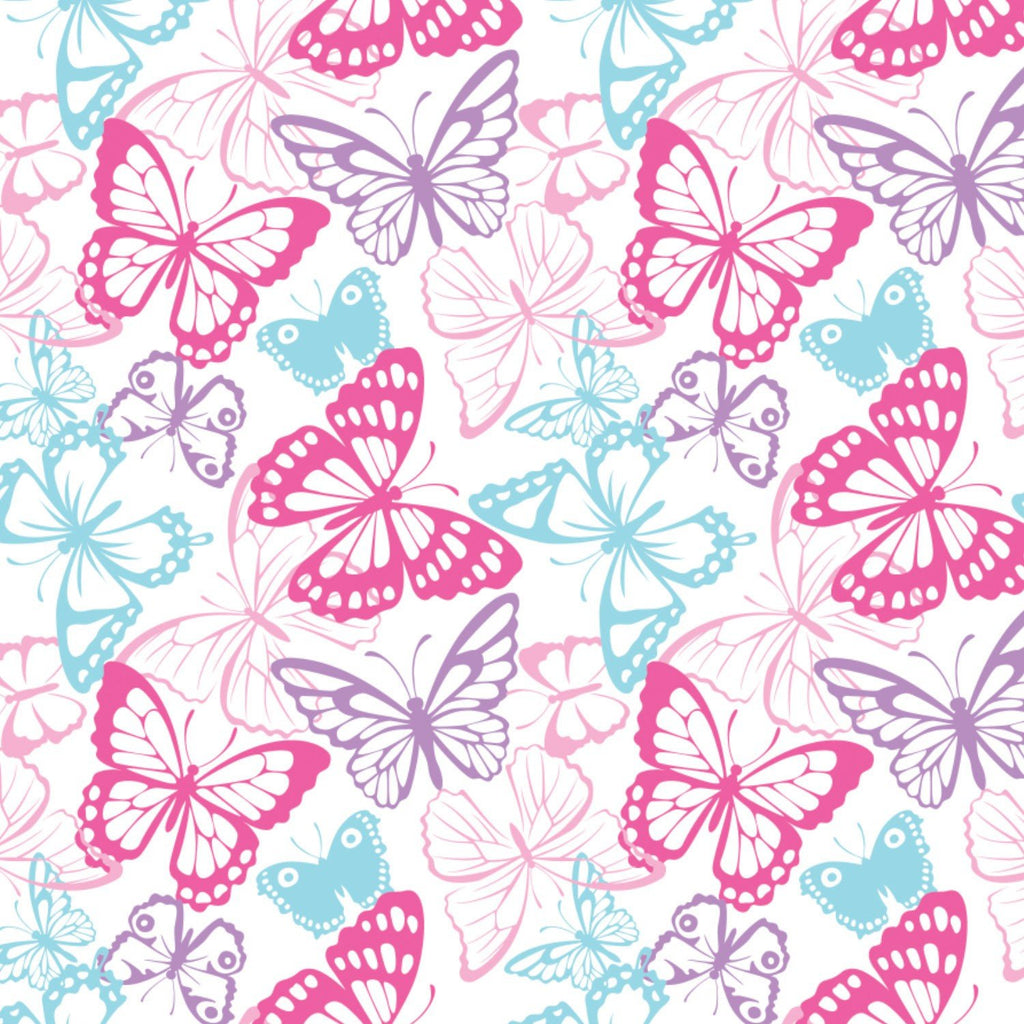 Springs Knit Butterfly Packed White Fabric by Springs Creative