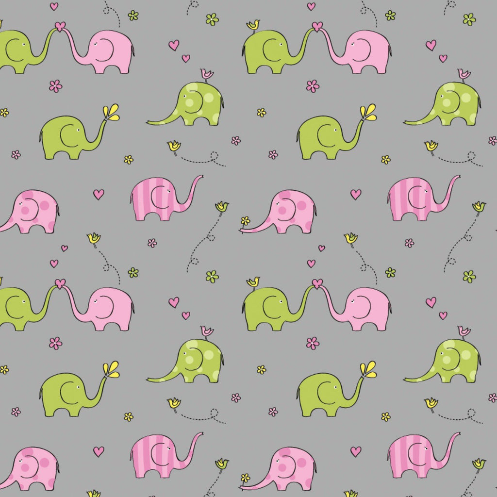 Springs Knit Sweet Elephants Grey - Frumble Fabrics