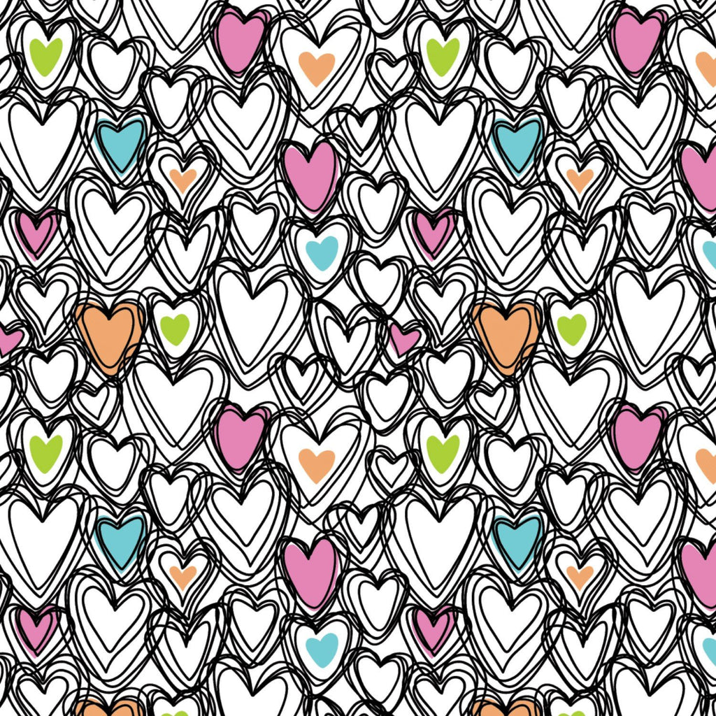 Springs Knit Scribble Hearts Fabric by Springs Creative
