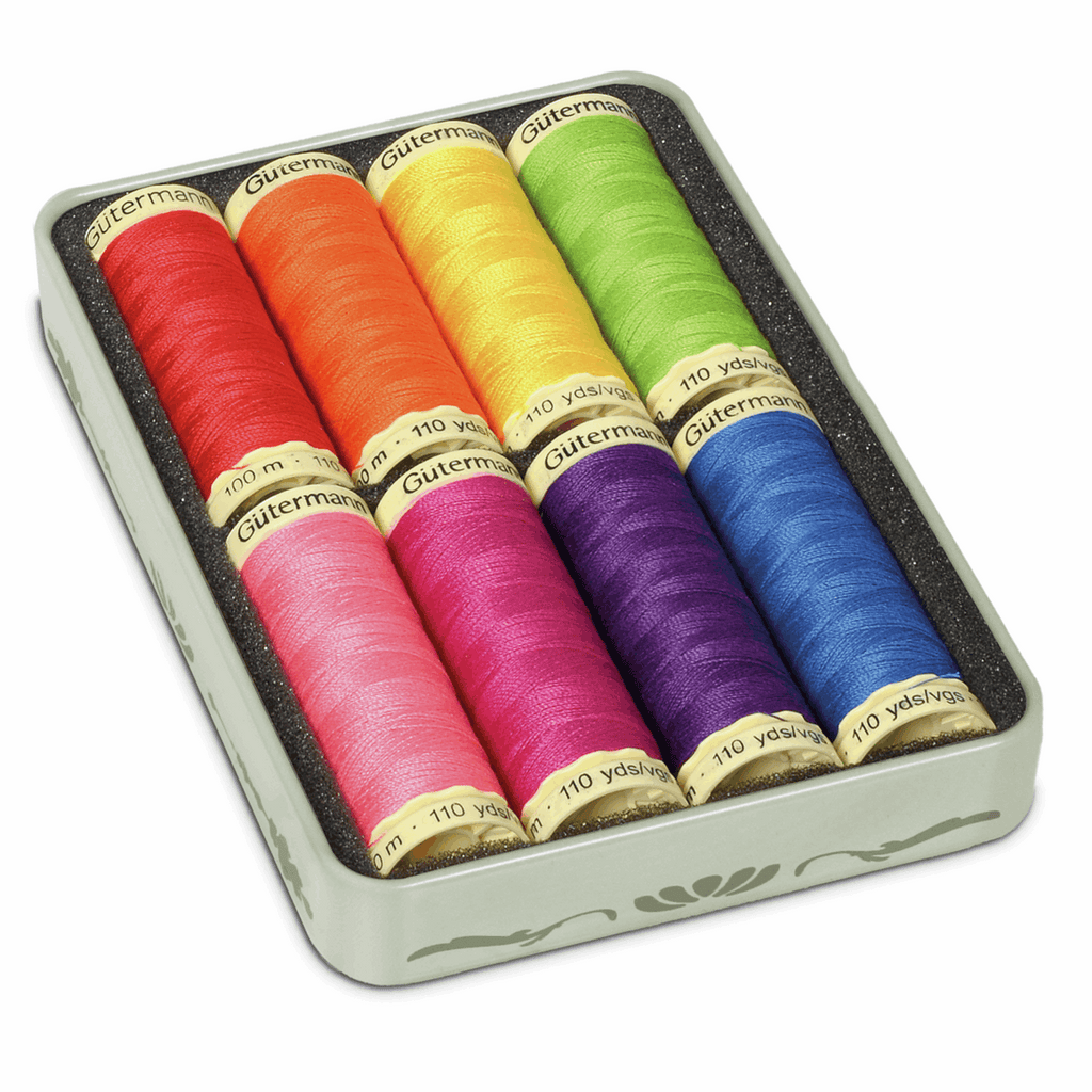 Gutermann Nostagia Tin of Threads x8 - Brights