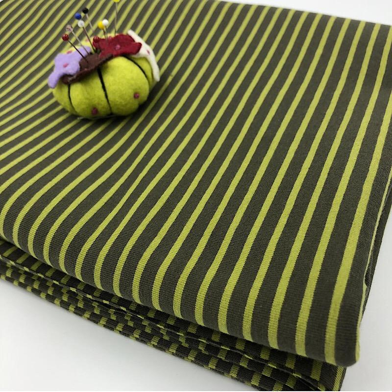 Avocado Lime Premium Striped Jersey Fabric by Various