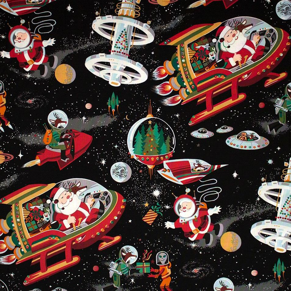 Santa In Space Black - Frumble Fabrics
