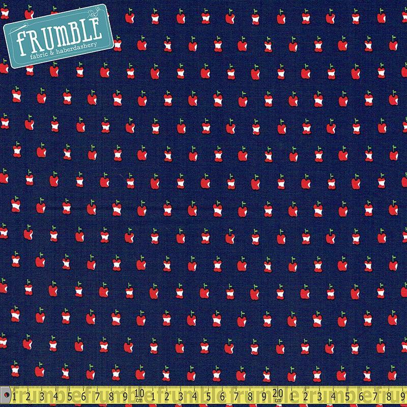 Apple A Day Navy Fabric by Alexander Henry