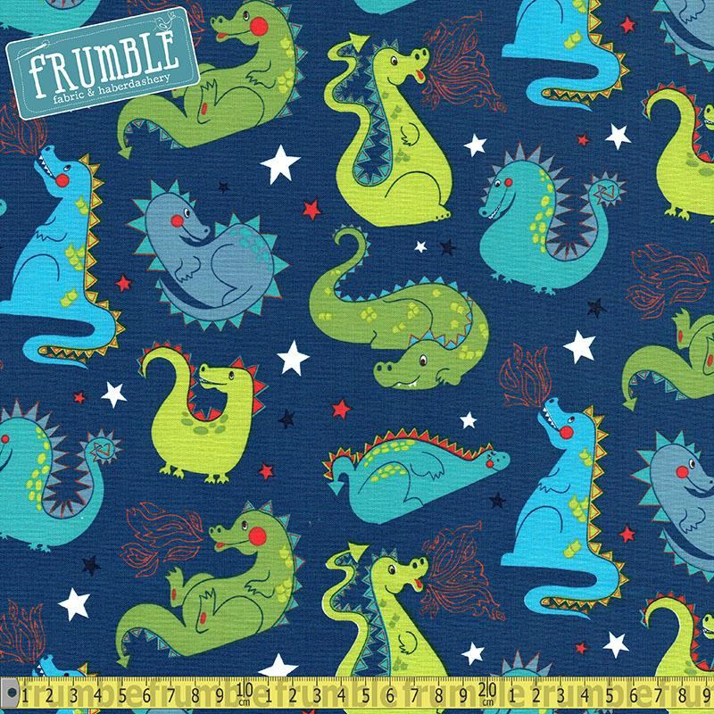 Baby Dragon Navy Fabric by Alexander Henry