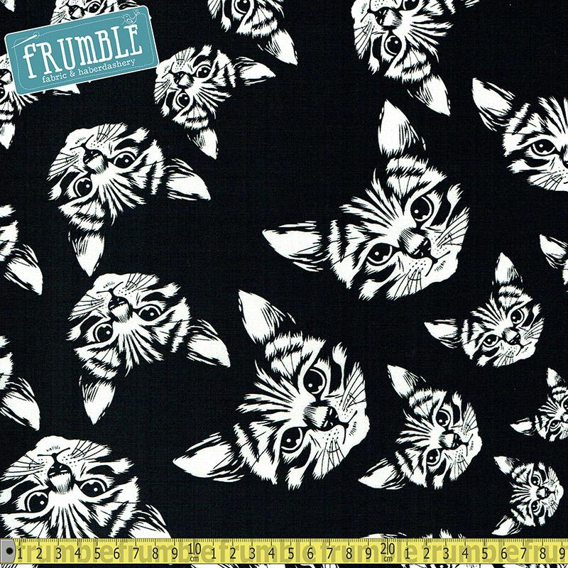 Cat-finity Black and White Fabric by Alexander Henry