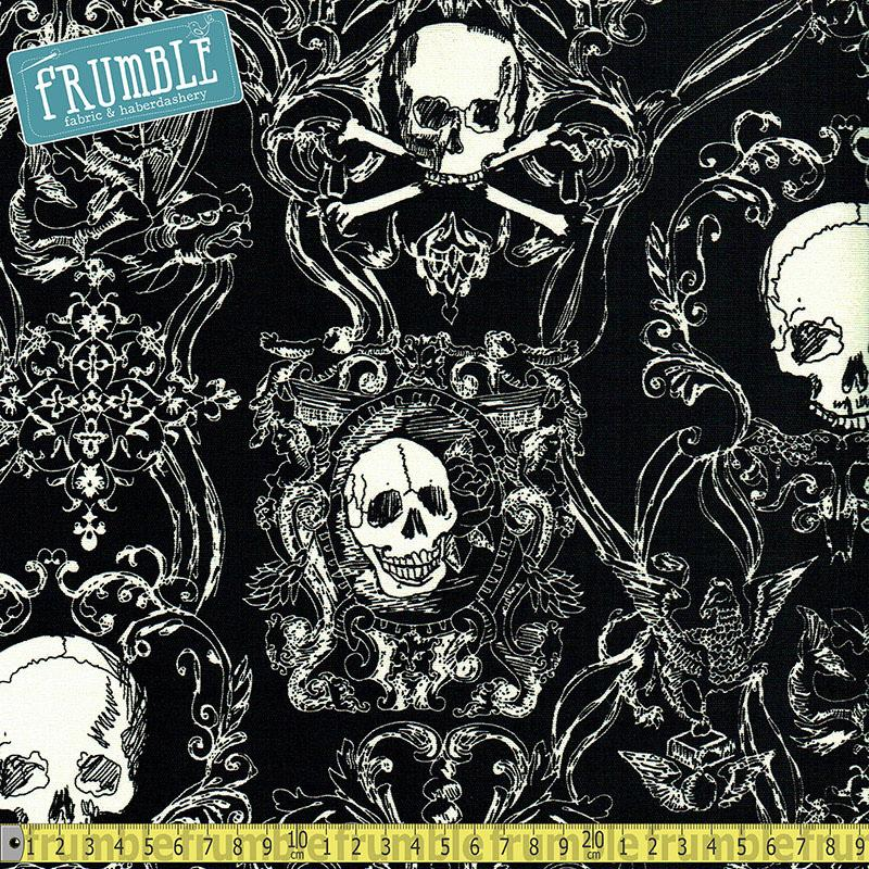 Cotton Canvas Skullduggery Black Fabric by Alexander Henry
