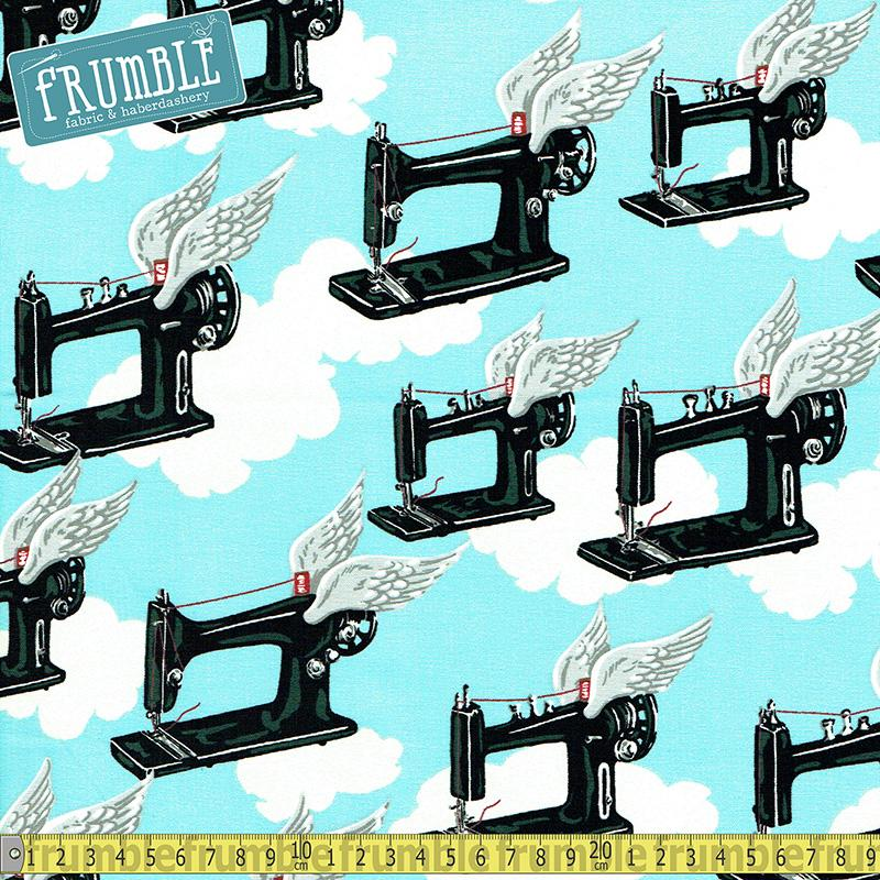 Flying Machines Sky Fabric by Alexander Henry