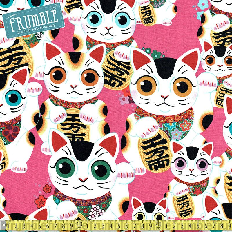 Fuku Kitty Pink Fabric by Alexander Henry