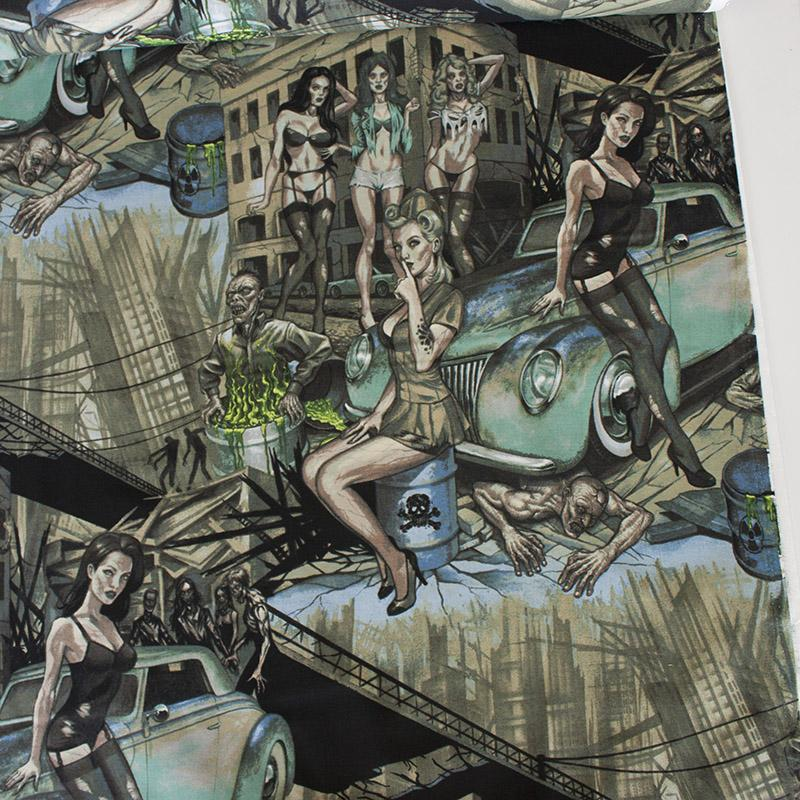 Zombie Apocalypse Turquoise Fabric by Alexander Henry