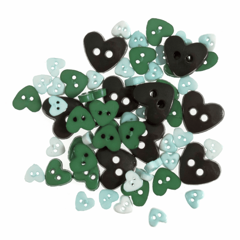 Heart Shaped Mini Craft Buttons - Greens - Frumble Fabrics
