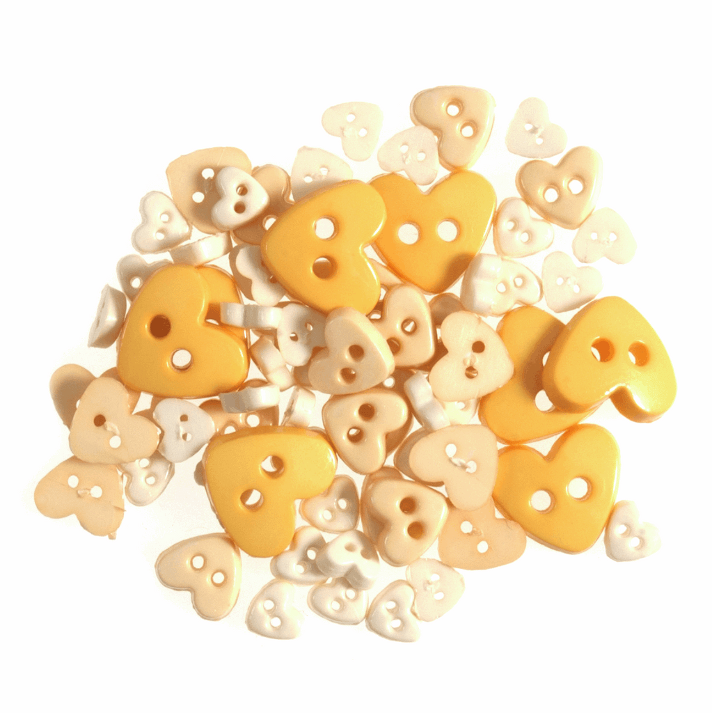 Heart Shaped Mini Craft Buttons - Yellows