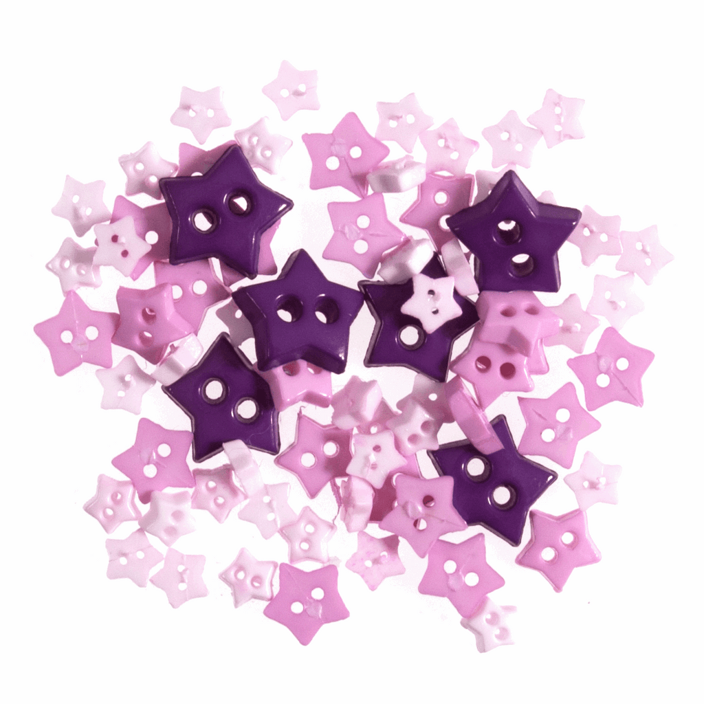 Star Shaped Mini Craft Buttons - Lilac - Frumble Fabrics