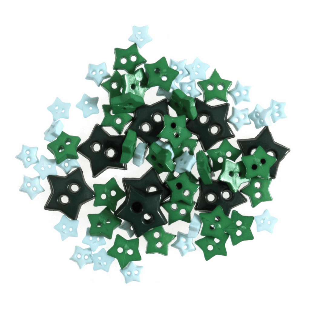 Star Shaped Mini Craft Buttons - Teal / Greens