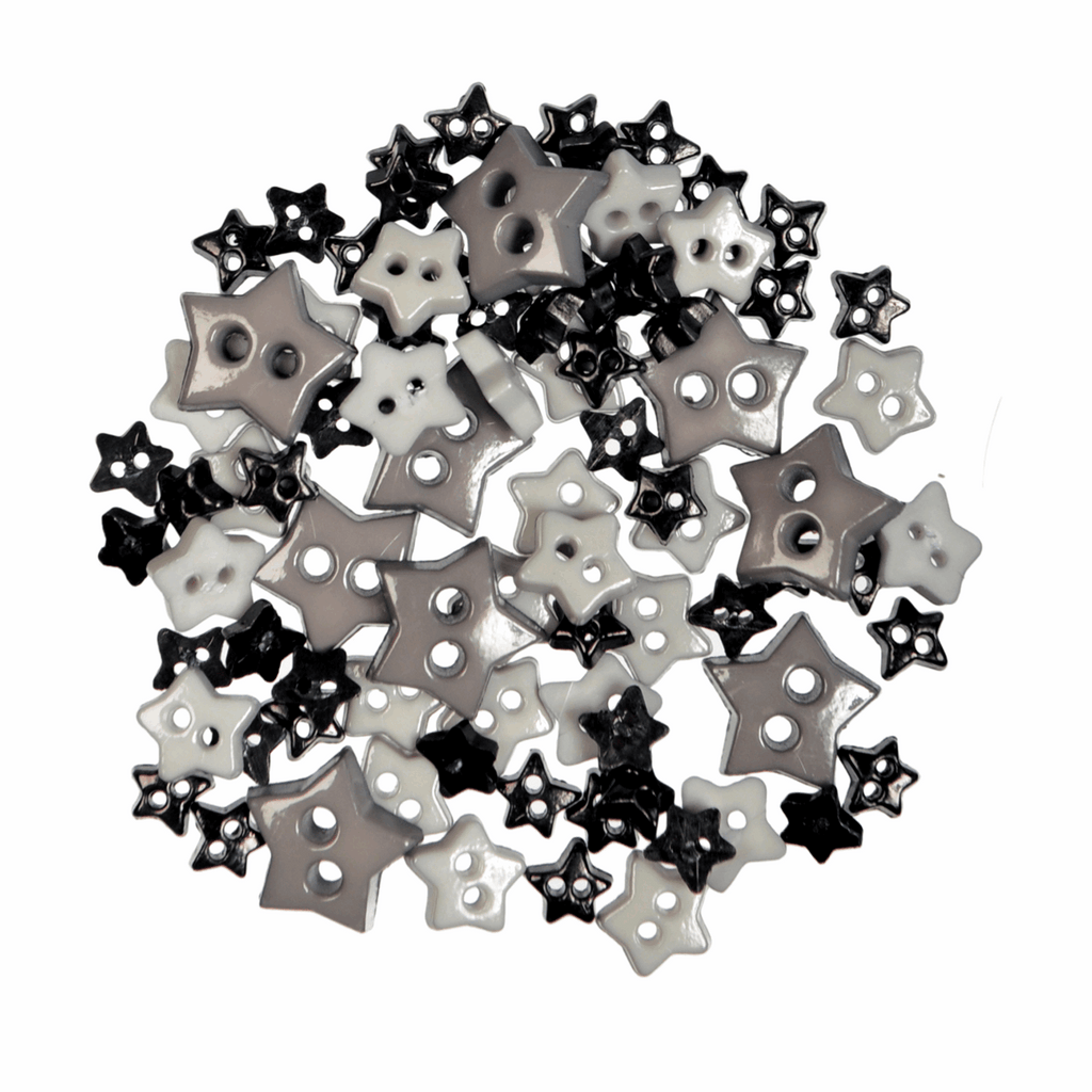 Star Shaped Mini Craft Buttons - Black / Grey