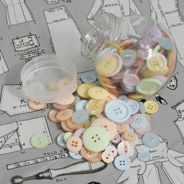 Jar of Pastel Sewing Buttons