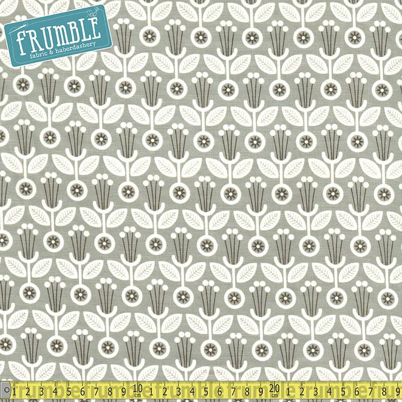 Grey Abbey Deco Floral Grey Fabric by Cloud 9 Fabrics
