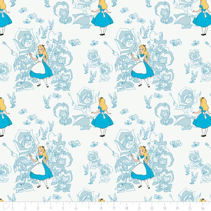 Alice In Wonderland Golden Afternoon Toile Light Blue Fabric by Camelot