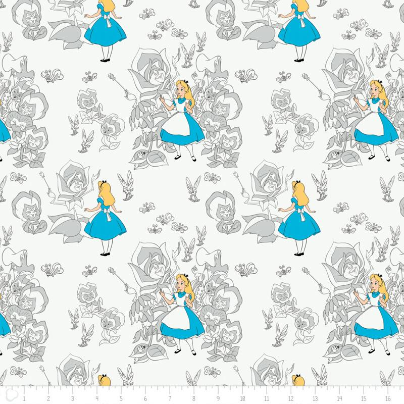 Alice In Wonderland Golden Afternoon Toile In Light Grey - Frumble Fabrics