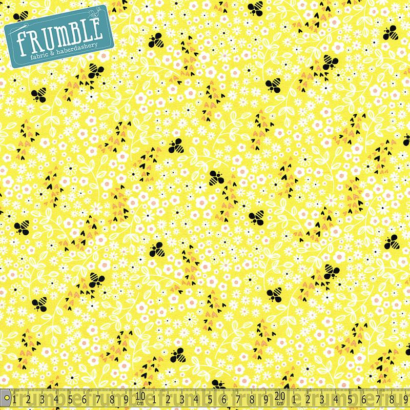Bee Youthful Ditsy Floral Yellow Fabric by Camelot