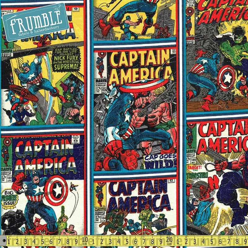 Captain America Comic Covers Multi Fabric by Camelot