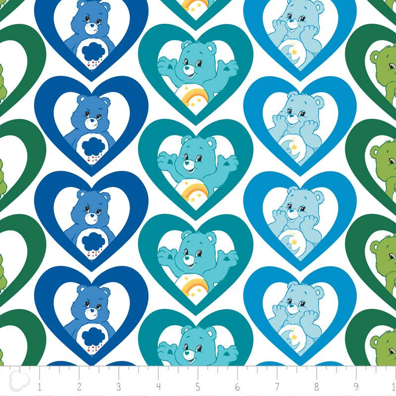 Care Bears Cool Hearts in Turquoise Fabric by Camelot