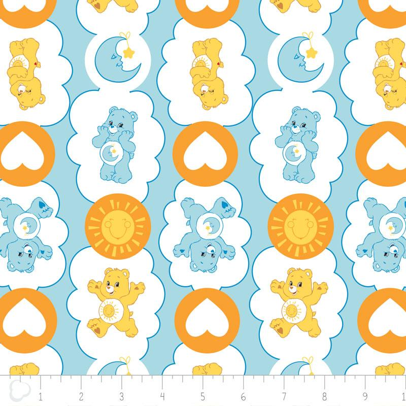 Care Bears Funshine & Bedtime Bears In Blue Fabric by Camelot