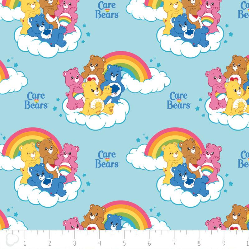 Care Bears Rainbow in Blue Fabric by Camelot