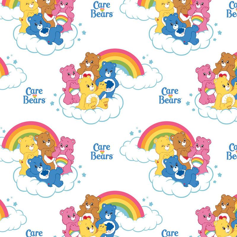 Care Bears Rainbow in White Fabric by Camelot