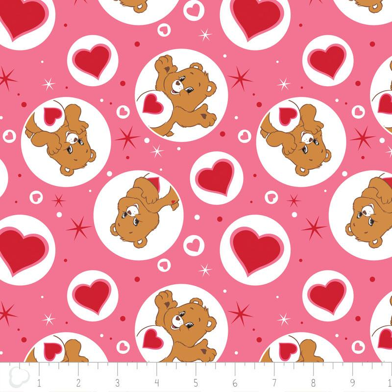 Care Bears Tenderheart Bear In Pink Fabric by Camelot