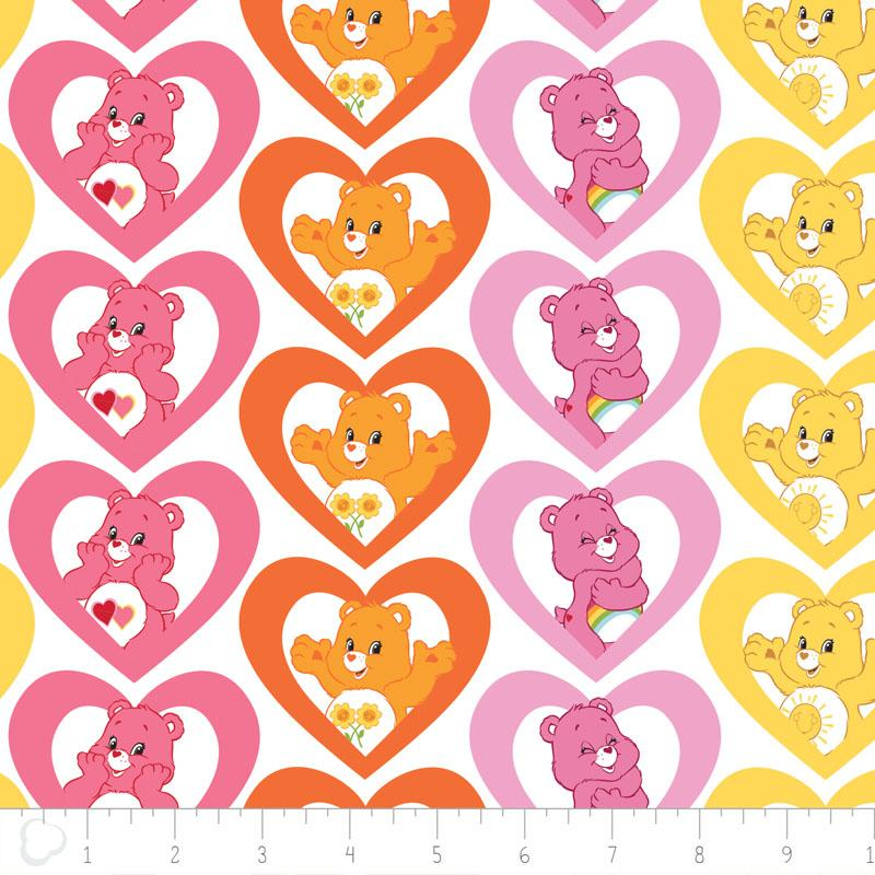 Care Bears Warm Hearts In Pink Fabric by Camelot