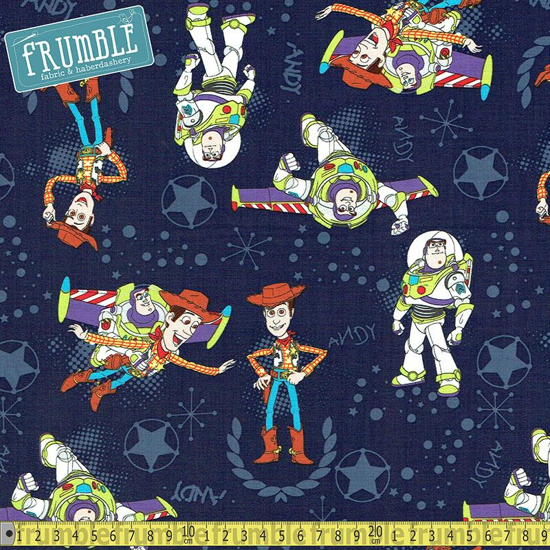 Disney Pixar Toy Story Buzz & Woody Navy Fabric by Camelot