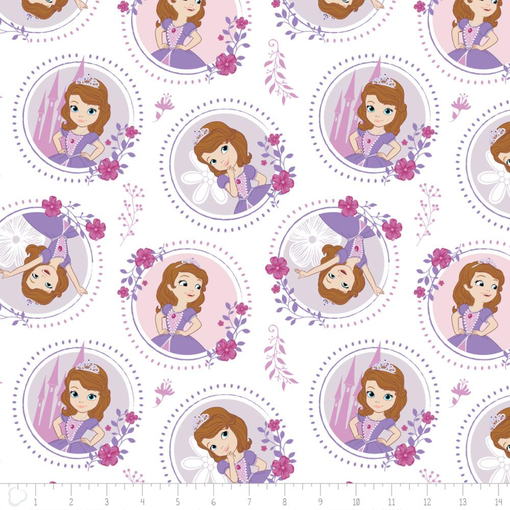 Disney Sofia The First Floral Frame in White - Frumble Fabrics