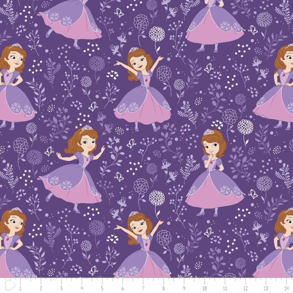 Disney Sofia The First Meadow in Grape Fabric by Camelot