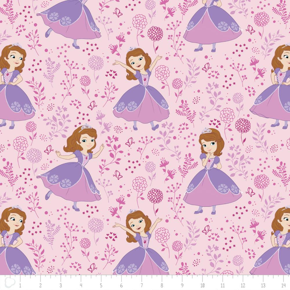 Disney Sofia The First Meadow in Light Pink - Frumble Fabrics
