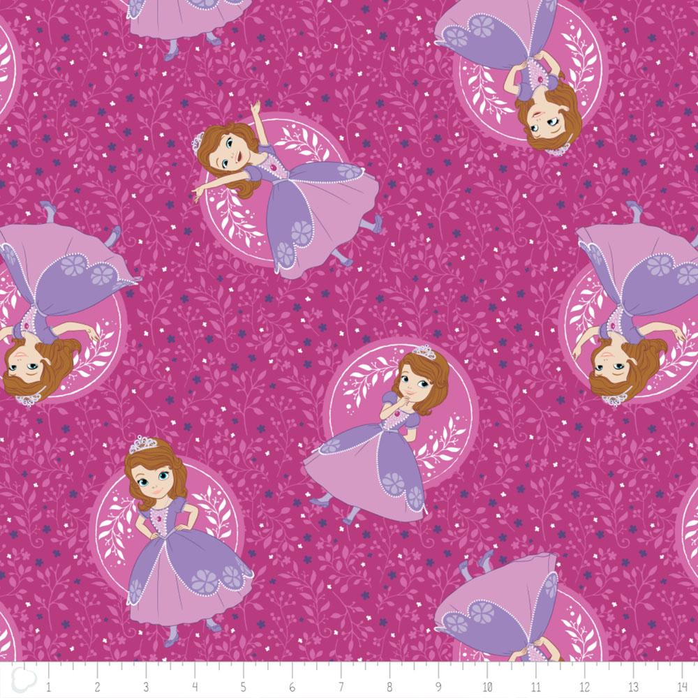 Disney Sofia The First Poses in Fuchsia - Frumble Fabrics