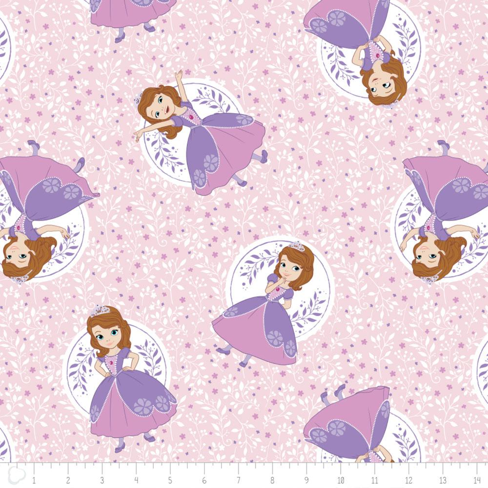 Disney Sofia The First Poses in Light Pink - Frumble Fabrics