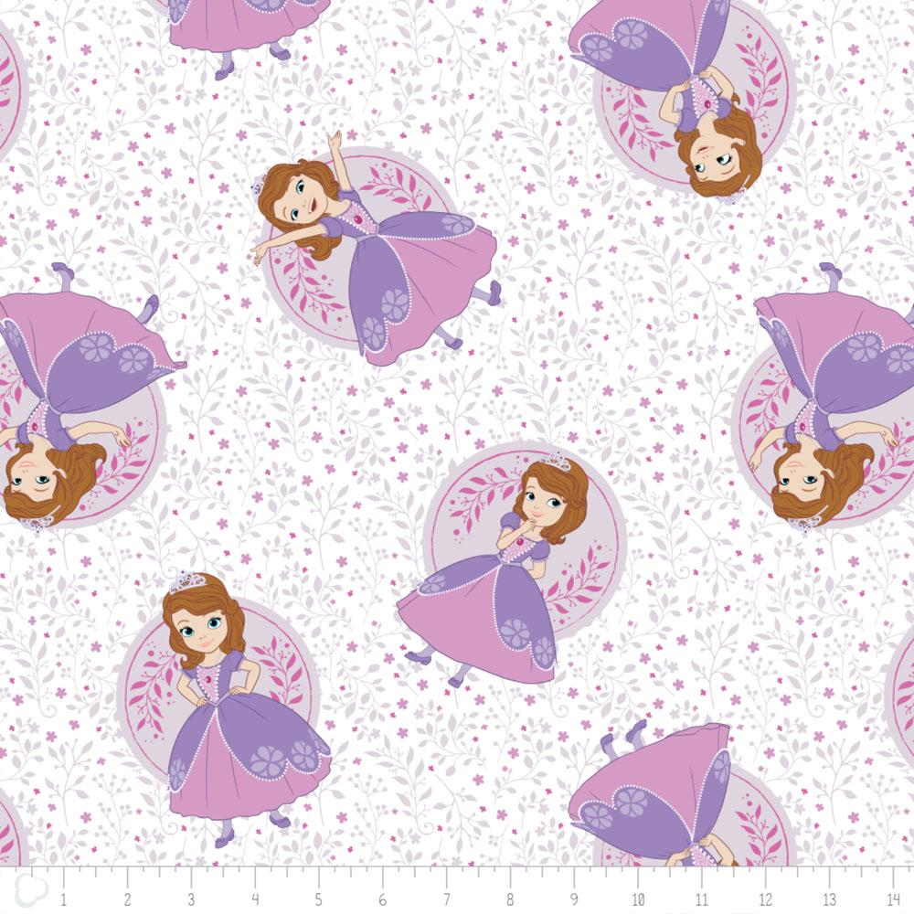 Disney Sofia The First Poses in White - Frumble Fabrics