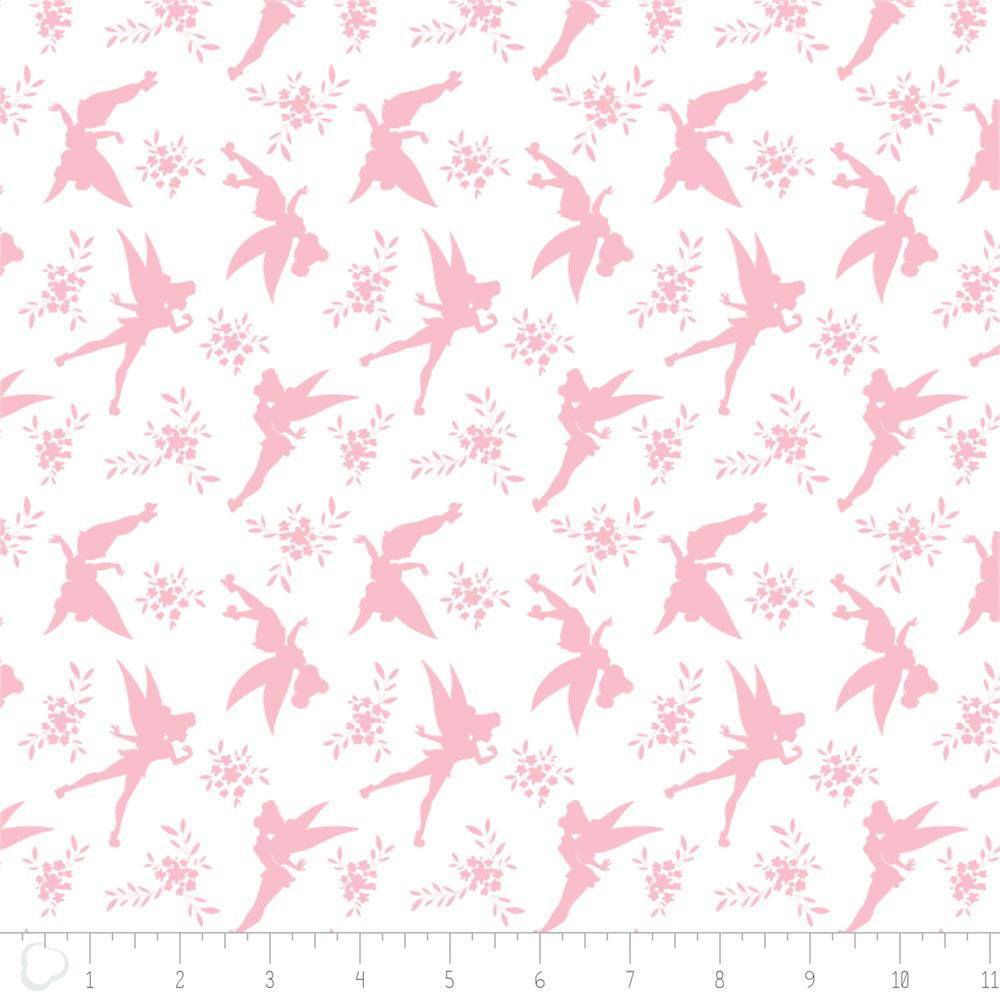 Disney Tinker Bell Tink Silhouette in Pink Fabric by Camelot