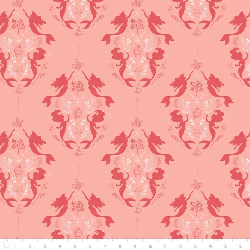 Disneys The Little Mermaid Damask in Coral Fabric by Camelot