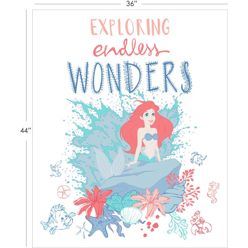 Disneys The Little Mermaid Endless Wonders in White 90cm Panel - Frumble Fabrics