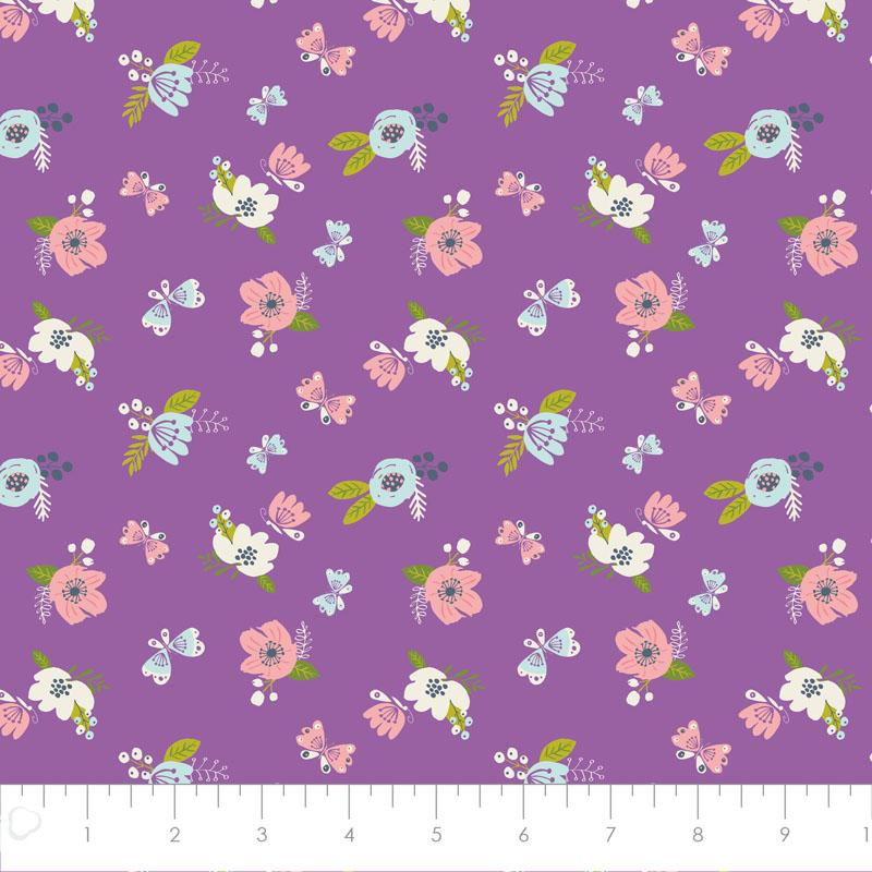 I Believe In Unicorns Flowers in Orchid Fabric by Camelot