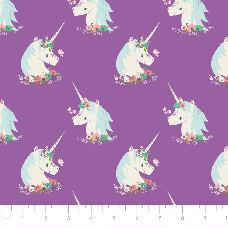 I Believe In Unicorns Heads in Orchid Fabric by Camelot