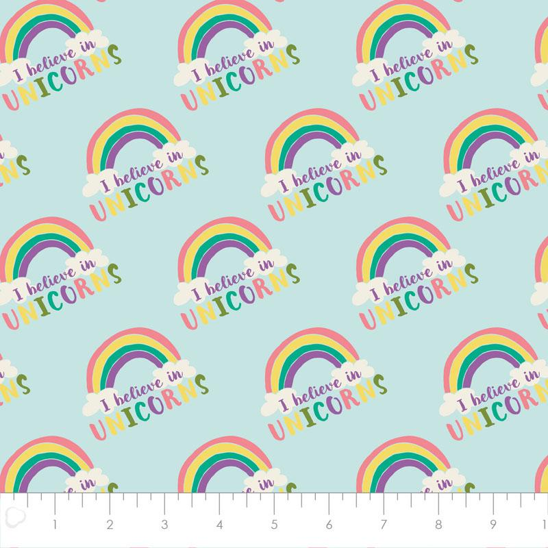 I Believe In Unicorns Rainbow & Text In Aqua - Frumble Fabrics