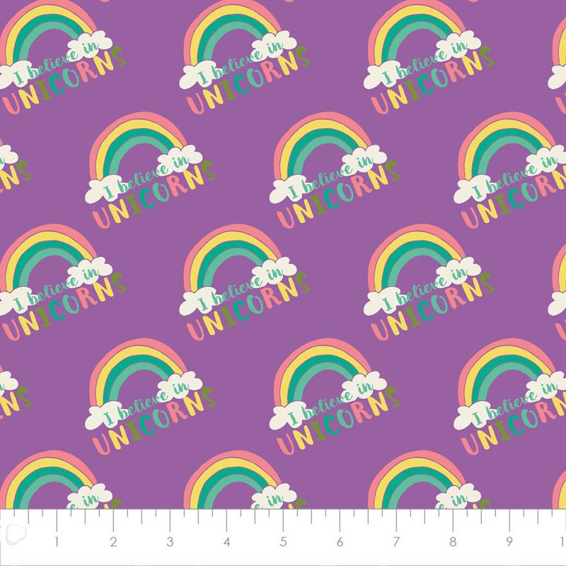 I Believe In Unicorns Rainbow & Text In Orchid - Frumble Fabrics