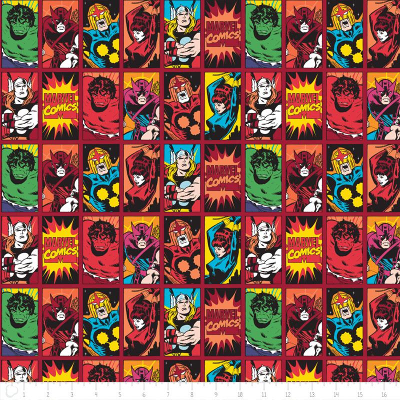 Marvel III Comic Book Heroes in Dark Red Fabric by Camelot