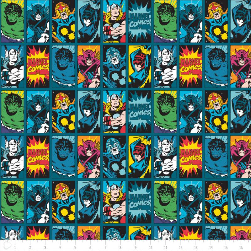 Marvel III Comic Book Heroes in Dark Teal - Frumble Fabrics